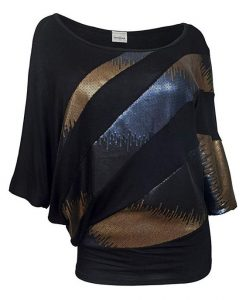 Black Plus Size Sequin Tops