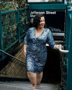 Blue Sequinned Dress Plus Size