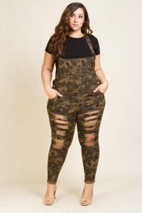 Camo Dungarees In Plus Size
