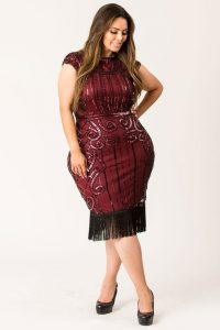Extra Large Maroon Cocktail Dress
