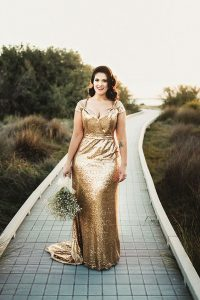 Golden Prom Dress For Plus Size