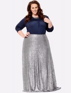 Long Silver Skirt For Plus Size