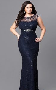 Navy Blue Sequin Dress Plus Sized