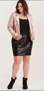 Plus Size Black Sequin Skirt