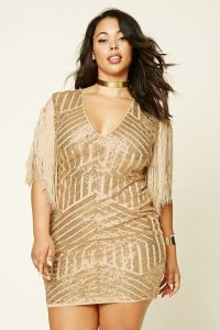 Plus Size Gold Sequin Cocktail Dress