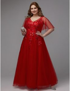 Plus Size Red Sequin Gown