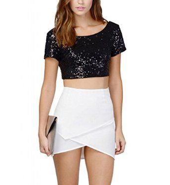 Plus Size Sequin Crop Top