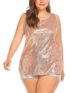 Plus Size Sequin Tank Tops