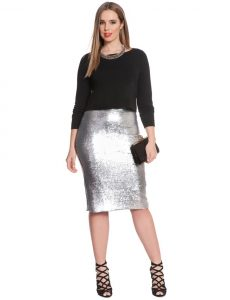 Plus Sized Sequin Pencil Skirt