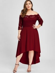 Red Plus Size Dress With Sleeves