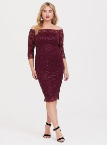 Red Plus Size Sequin Bodycon Dress