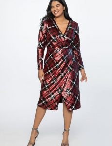 Red Sequin Wrap Dress In Plus Size