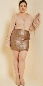 Rosegold Sequin Mini Skirt