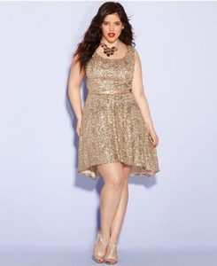 Shinning Gold Sequin Dress In Plus Size