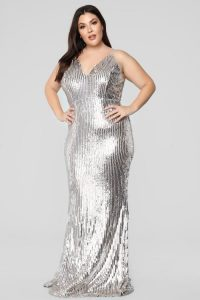 Silver Plus Size Sequin Dress Cocktail