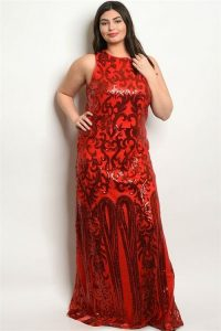 Sparkle Red Party Dress In Plus Size