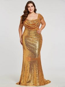 Sparkly Gold Cocktail Dress In Plus Size