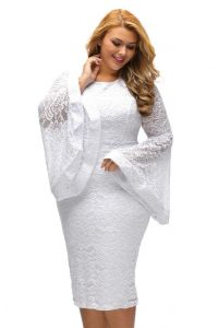 White Lace Dress With Bell Sleeve