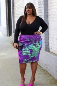 Women's Plus Size Sequin Skirt