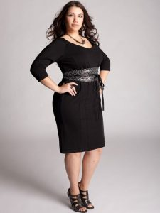 Belted Black Sheath Dress XXL