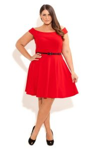 Belted Skater Dress For Plus Size