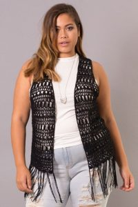 Black Crochet Vest Plus Size