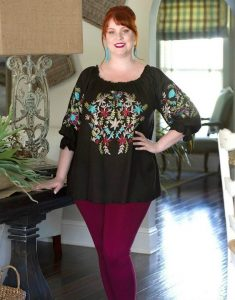 Black Plus Size Embroidered Tunic
