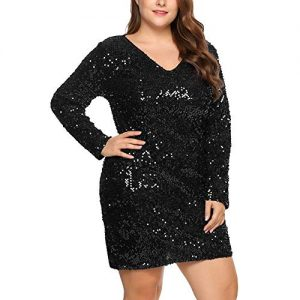 Black Plus Size Sequin Club Dresses