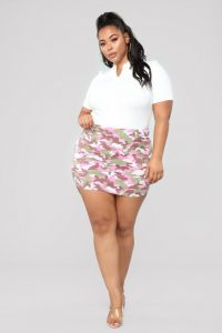 Camo Pink Skirt For Plus Size