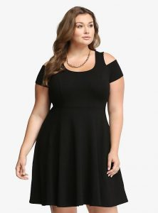 Cold Shoulder Skater Dress In XXL