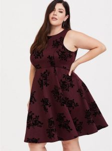 Dark Red Skater Dress Plus Size