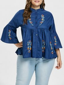 Embroidered Blouse For Curvy