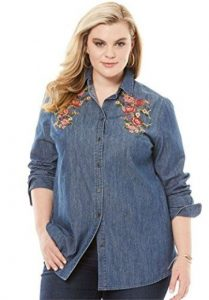 Embroidered Denim Shirt Plus Size