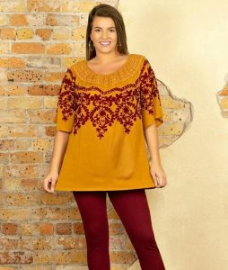 Embroidered Tops In Plus Size