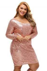 Long Sleeve Sequin Club Dress Plus Size