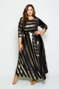 Metallic Maxi Dress Plus Size