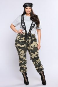 Plus Size High Waisted Camo Pants