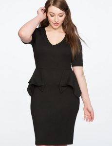 Peplum Sheath Dress In Plus Size