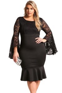 Plus Size Black Lace Club Dress