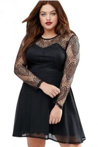 Plus Size Black Lace Skater Dress