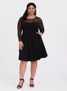 Plus Size Black Skater Dress With Sleeves