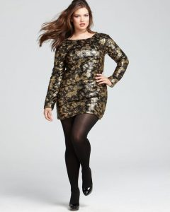 Plus Size Black and Gold Club Dresses