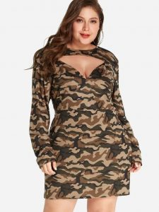 Plus Size Camo Mini Dress