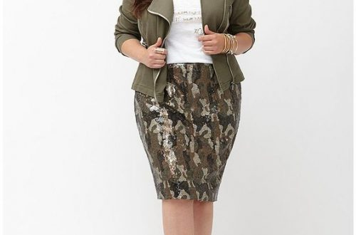 Plus Size Camo Pencil Skirt