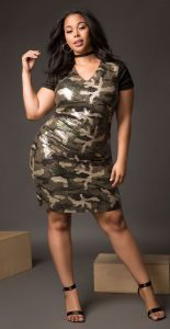 Plus Size Camo Sequin Dress