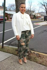 Plus Size Camouflage Pants Ripped