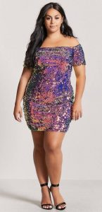 Plus Size Club Dresses Sequin Details