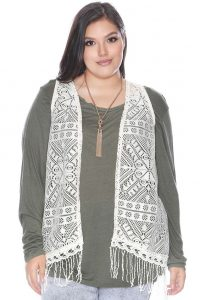 Plus Size Crochet Vest With Fringes