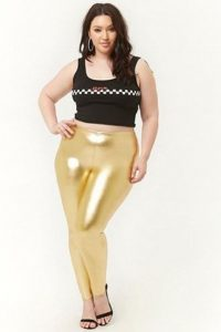 Plus Size Gold Metallic Leggings