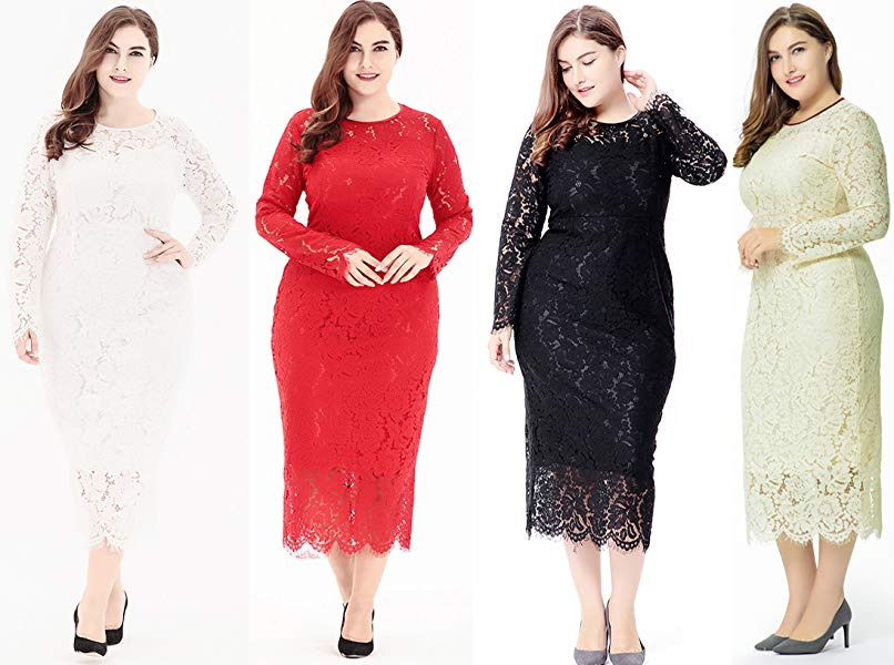 Plus Size Lace Dress With Sleeves